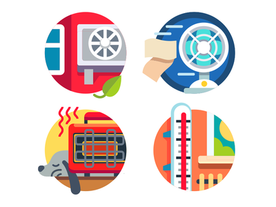 Climate control icons thermometer fan heater conditioner controle climat icon illustration vector flat kit8