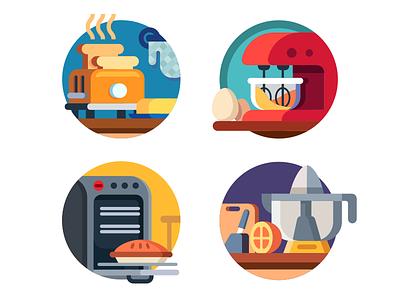 Kitchen appliances icons juicer oven blender toaster appliances kitchen set illustration icon vector flat kit8