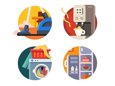 Household appliances refrigerator washing machine coffee machine vacuum cleaner icons illustrations vector flat kit8
