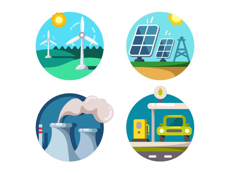 Скачать Eco Technology Flat Icons: Energy Saving Icons By Kit8