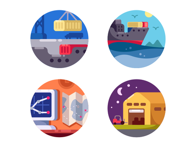 Maritime logistics icons freight shipping container delivery maritime transportation cargo logistic illustration vector flat kit8