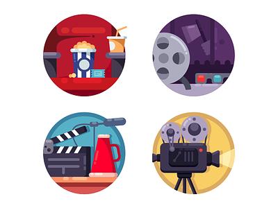 Film industry icons filmstrip equipment cinema camera movie video industry film illustration vector flat kit8