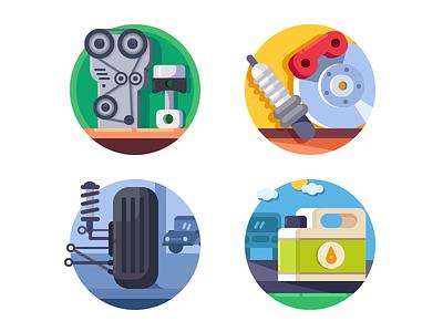 Automaterials icons brake motor service engine auto repair spare wheel illustration vector flat kit8
