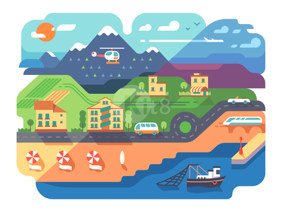 Coastal resort town beach mountain transport travel waterfront seaside vocation city illustration vector flat kit8