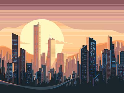 Сity sunrise landscape megapolis balding cityscape sunrise sunset sun city illustration vector flat kit8