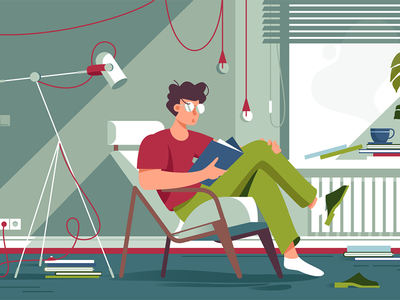 Book reading character design interior room read book man design character flat vector illustration kit8