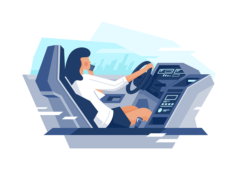 Woman driving a car ui design icon kit8 side flat illustration vector character cocpit inside interior drive car girl woman