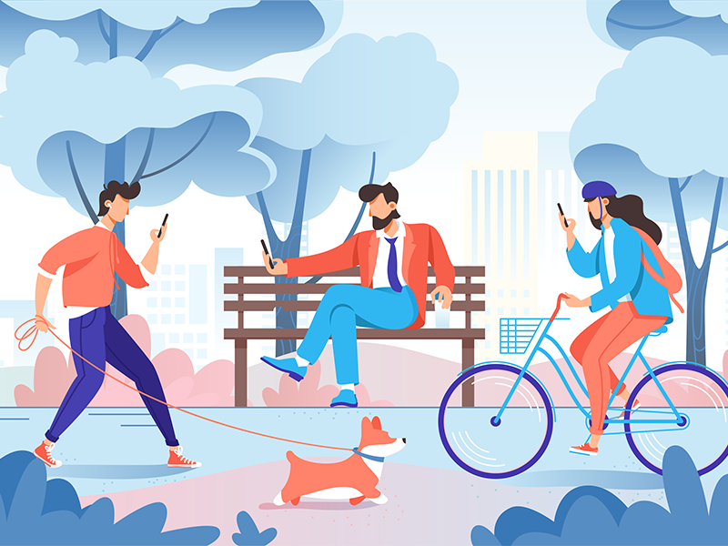 City park illustration bench tree dog phone bike city park icon design character illustration vector flat kit8