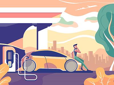 Electric car charge station hatchback man gas station charge electric car design ui icon character flat vector illustration kit8