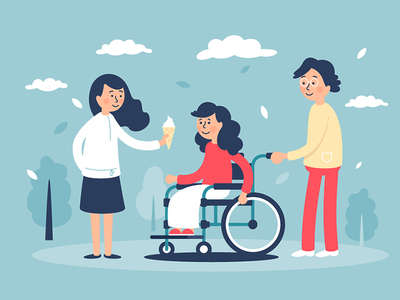 Family with disabled child rehabilitation disability happy family wheelchair smiling young kit8 flat vector illustration