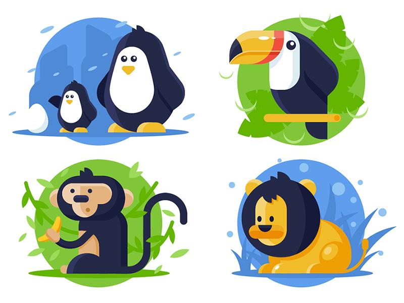 Animals kit8 flat vector illustration toucan monkey penguin lion wild animal collection