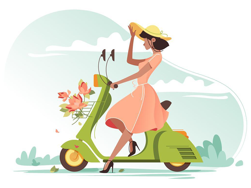 Girl on scooter kit8 flat vector illustration road summer woman scooter flower dress beautiful