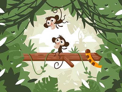 Jungle wildlife flora summer tiger jungle tail monkey kit8 flat vector illustration