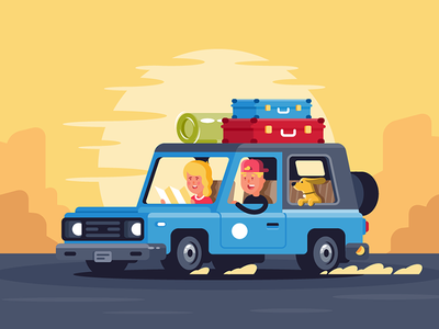 Family road trip with dog tourism car road journey pet woman man kit8 flat vector illustration