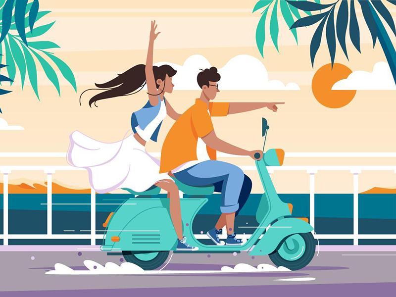 Couple riding on motorbike kit8 flat vector illustration beauty holiday relationship drive bike happy couple