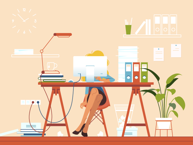 Girl busy at workplace kit8 flat vector illustration work girl office workplace workaholic exhausted businesswoman