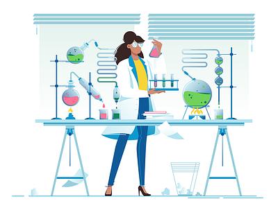 Woman chemist kit8 flat vector illustration researcher pharmaceutical scientist laboratory liquid chemist woman