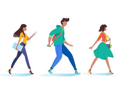 People go on business kit8 flat vector illustration walking urban woman walk person man people