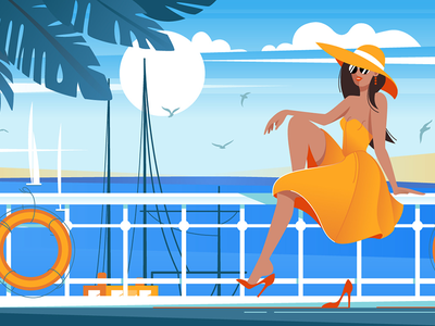 Girl on wharf near sea kit8 flat vector illustration landscape seaside nature summer sailboat sea girl beauty