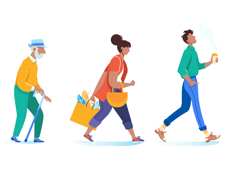 People go on business trendy grandfather pedestrian woman walk man people kit8 flat vector illustration