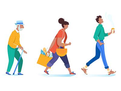 People go on business trendy grandfather pedestrian woman walk man people kit8 flat vector illustration
