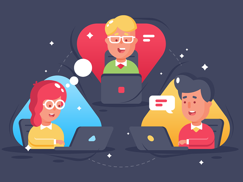 People remote collaboration employee group team remote internet collaboration network kit8 flat vector illustration