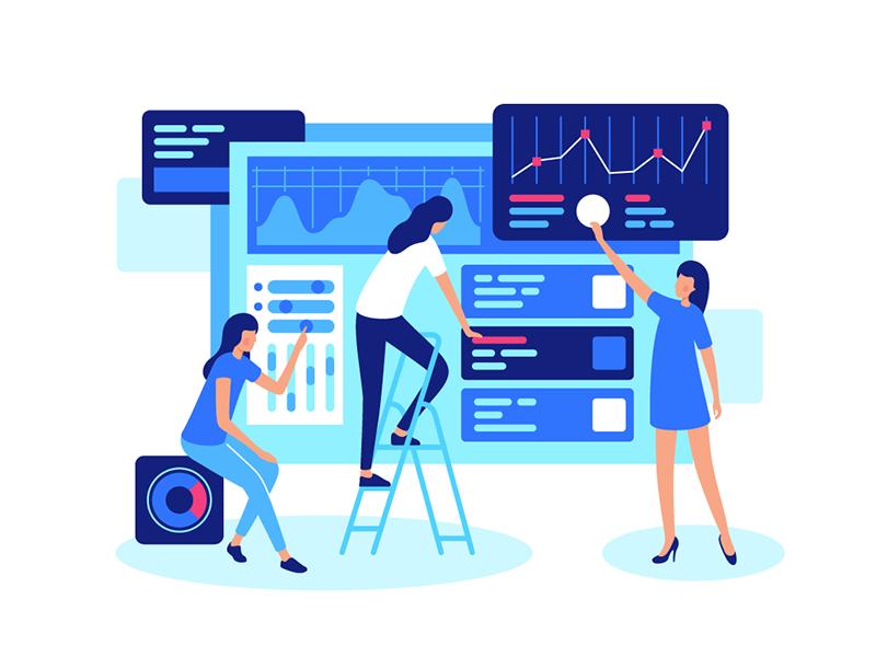 Online teamwork corporate work working concept marketing teamwork online kit8 flat vector illustration