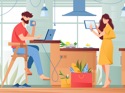 Couple with gadgets in life network lifestyle people laptop device couple gadget kit8 flat vector illustration