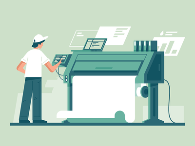 Print to printer kit8 flat vector illustration worker publishing print copy technology equipment machine