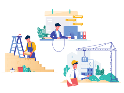 Set professions kit8 flat vector illustration half building collection people profession business worker