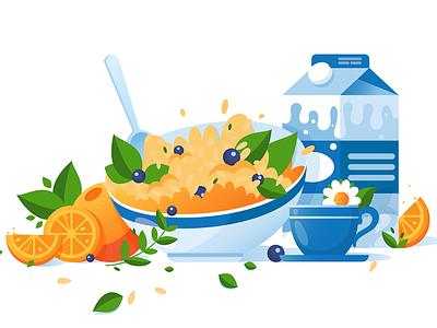 Breakfast kit8 flat vector illustration nutrition traditional cooking morning restaurant breakfast food