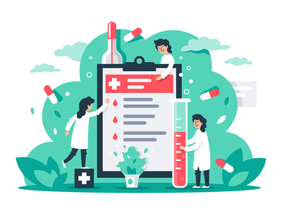 Composition with little doctors kit8 flat vector illustration doctor measurement treatment pharmacy healthcare hospital medicine