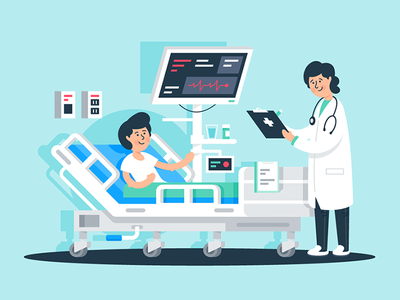 With the patient in the ward illness stethoscope healthcare equipment medical patient doctor kit8 flat vector illustration