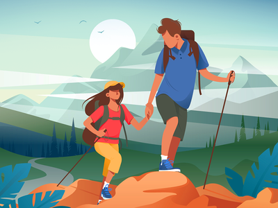 Hiking in mountains kit8 flat vector illustration wild recreation friend mountain hiking couple young