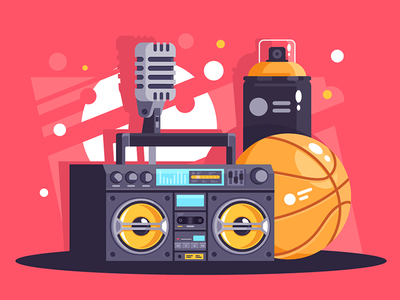 Hip-hop equipment kit8 flat vector illustration abstract dance music microphone player spray boombox