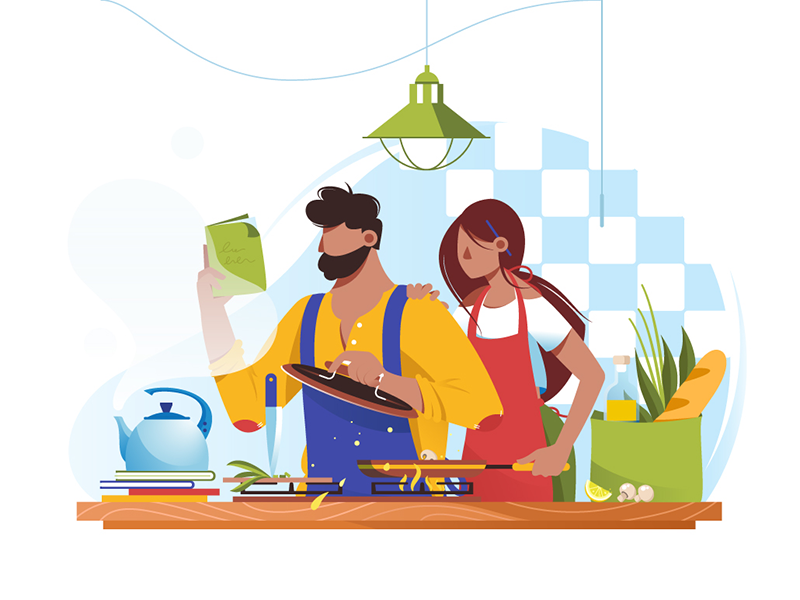 Couple cooks together kit8 flat vector illustration recipe knife couple food cook woman man
