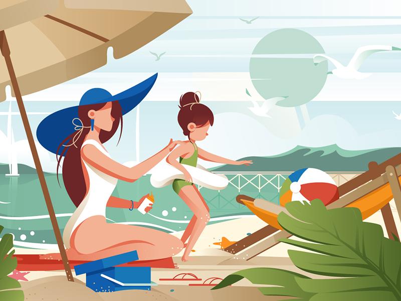 Family on the beach kit8 flat vector illustration sunblock pretty palm travel beach summer relax