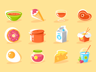 Food icon set successful object app food element sign set kit8 flat vector illustration
