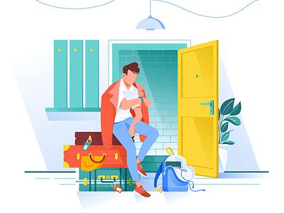 Man waiting trip kit8 flat vector illustration bags travel weekend trip man journey