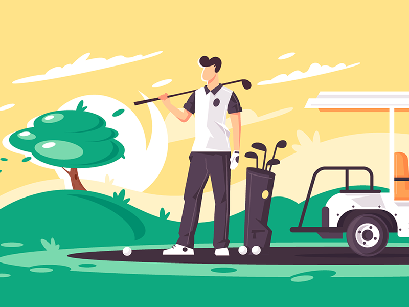 Man with golf club kit8 flat vector illustration leisure relaxation sport car club golf man