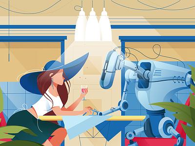 Woman on date with robot kit8 flat vector illustration celebration robotic machine futuristic restaurant woman silhouette
