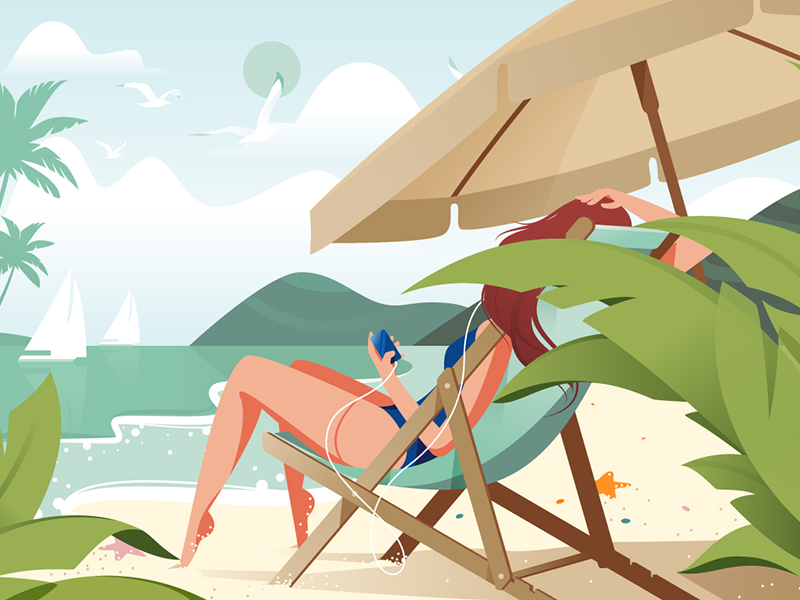 Girl relaxing on beach kit8 flat vector illustration earphones holiday girl beach summer relax music
