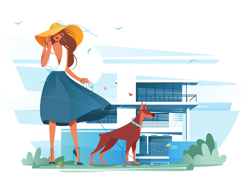 Woman with dog near cottage kit8 flat vector illustration apartment good leisure cottage dog composition woman