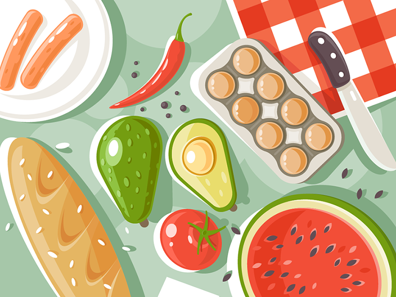Products for picnic kit8 flat vector illustration camping holiday picnic food celebration travel product