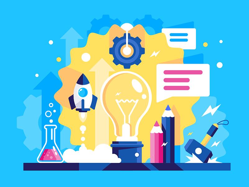 Laboratory of ideas kit8 flat vector illustration process liquid wheel message rocket idea laboratory