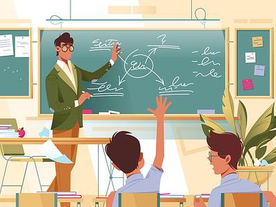 Schoolboys in lesson kit8 flat vector illustration teenager pupil tutorial lesson schooling school teacher