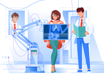 The x-ray doctor kit8 flat vector illustration physician service radiograph xray medical patient doctor