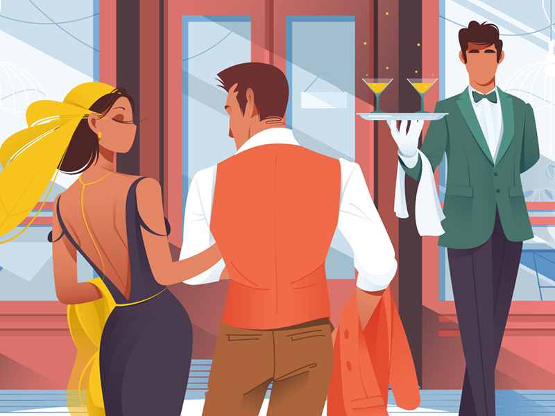 Couple before entering in restaurant kit8 flat vector illustration relationship table people purchases date cafe couple