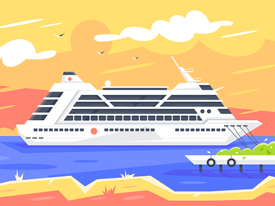 Cruise ship kit8 flat vector illustration destination travel delivery water passenger ship cruise