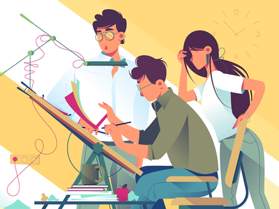 Team at work on design project kit8 flat vector illustration modern front infographic equipment workplace teamwork building